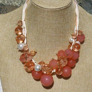 Boho Necklace Chunky Pearl & Coral Bead Statement